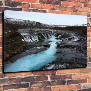 """Blue Lagoon Iceland Printed Box Canvas Picture A1.30""""x20"""" 30mm Deep Frame V3"""