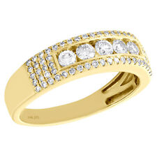 14K Yellow Gold 5 Stone Diamond Mens Wedding Band Solitaire Center Ring 1 CT.