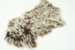 Tibetlammfell Farbe Schoko Braun 80cm mit hellen Spitzen curly Mongolian Lamb