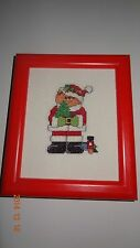 Santa Bear red frame Finished Cross Stitch