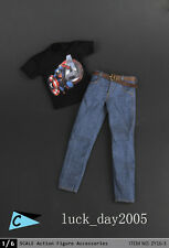 """ZY Toys Male Black Printing T-Shirt & Jeans w/ Belt #C 1/6 Fit for 12"""" figure"""