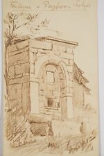 Petit dessin original sanguine Adrien Grave n.s Fontaine Serbie Guerre 14/18