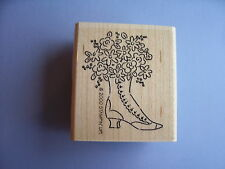STAMPIN' UP RUBBER STAMPS HIGH HEEL BOOT WITH FLOWERS STAMP