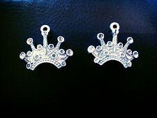 Crown Charms Crown Pendants Silver Charms Silver Crown Charms Queen Charms 10pc