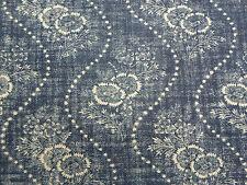 Ralph Lauren Curtain/Upholstery Fabric 'Etienne Floral Stripe' 3 METRES Indigo