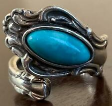 DFA Sterling Silver Turquoise Southwestern Spoon Ring 5.5 Wrap Jewelry Marquis