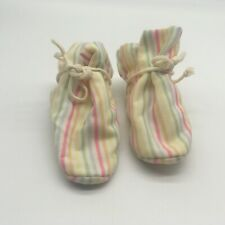 Rainbow Striped Vintage Cotton TV Baby Booties / Slippers Size Large 1970's