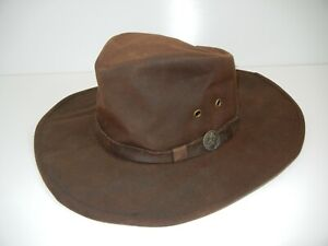 OUTBACK TRADING Brown Western WAXED COTTON BUSH HAT Cowboy Hiking Sun Cap Sz M