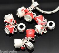 10 Pendentifs Breloques Cloche Noël Émail pr Bracelet Charms