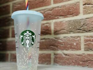 NEU Colour Changing Confetti Starbucks Becher Reusable Cold Cup 24oz
