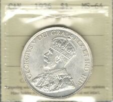 1936 Silver Dollar ICCS Graded MS-64 ** STUNNING King George V 2nd Canada $1.00