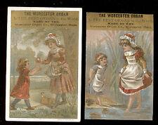 WORCESTER MA ORGAN CO, & SKOWHEGAN ME, SM GIRLS, 2 TRADE CARDS, FREE SHIP TC955