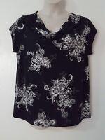 Liz Lange Maternity Black White Floral Print Draped Cap Sleeve Blouse Size XXL
