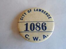 Vintage City of Lawrence CWA Employee ID Pinback Button Badge