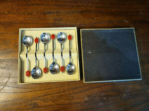 Vintage Boxed Sheffield EPNS Set Six 'Coffee Bean' Coffee Spoons - Red 'Beans'