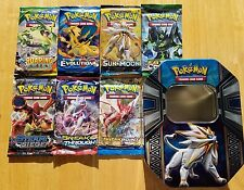 7 Different Pokemon Booster Packs + 1 Random Empty Tin Box - Perfect Gift Bundle