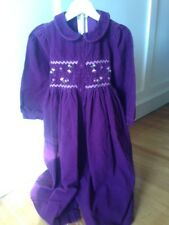 Laura Ashley smocked purple corduroy dress