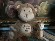 """His Gem JESUS LOVES ME Singing Monkey Toy Battery Operated Soft Plush NEW 9"""""""