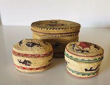 New listing 3 Makah Lidded Baskets Circa 1900 - No Reserve! Fresh from Fenske Coll Albq Nm