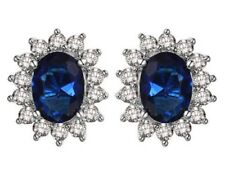 Sapphire Stud Earrings 925 Sterling Silver Kate Middleton's Princess Diana Style