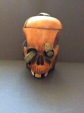 Carved Wood Skull Humidor