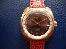 VINTAGE MAPPINS LADIES WRIST WATCH BROWN DIAL RED HANDS AUTOMATIC  RUNNING!