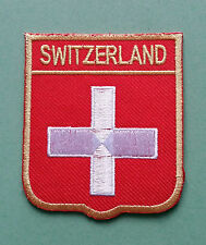NATIONAL FLAG COUNTRY SHIELD SEW ON / IRON ON EMBROIDERED PATCH:- SWITZERLAND