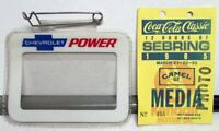 1985 12 Hours Of Sebring Coca-Cola Classic Race Media Photo Pass W/Chevy Holder