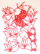 Chinese Folk Art Silhouettes Paper Cuts Flower & Bird I