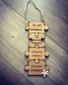 personalised wooden engraved gift puzzle pieces family events keepsake