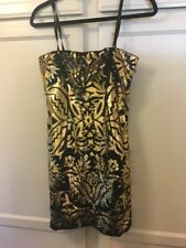 Moschino Black / Gold Sequin Mini Dress size 8
