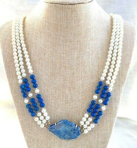 Vintage 3 Strand Faux Pearl and Sodalite Beaded Necklace Carved Sodalite Pendant