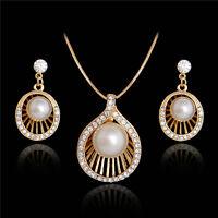Eelegan 18k GP Crystal pearl shell jewelry set lady necklace earring stud
