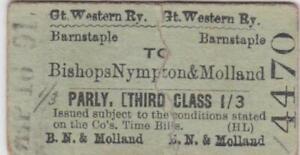 Great Western Railway Ticket BARNSTAPLE 4470