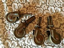ANTIQUE METAL IRON TROLLEY FURNITURE CASTORS WHEELS OLD SET OF FOUR