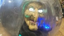 """Gemmy Retired Animated Talking Witch in Lighted Crystal Ball 10"""" Halloween Decor"""