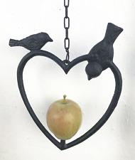 Cast Iron Heart Shape Wild Bird Hanging Fruit Feeder  in 2 colours