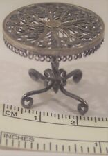 FINE ANTIQUE STERLING SILVER FILIGREE MINIATURE DOLL HOUSE ROUND 4 FOOT TABLE XC
