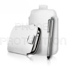 LEATHER PULL TAB CASE COVER POUCH HOLSTER & PEN FOR VARIOUS HUAWEI & ZTE PHONES