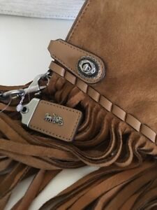 Coach 1941 Turnlock Wristlet 30 in Suede w/ Fringe Tan NWT 86840  Retail $395