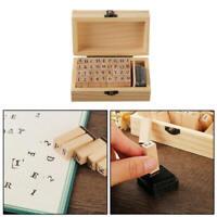 36Pcs Wooden DIY Craft Seal Rubber Alphabet Number Letter Stamp Stamper Seal dfg