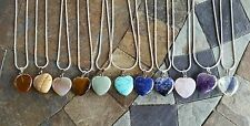 """GREAT gift LOT OF 1! NEW CRYSTAL STONE HEART PENDANT NECKLACE QUARTZ 20"""" CHAIN"""