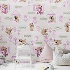vinyl Wallpaper wall covering pink dogs nursery kids room double rolls textured