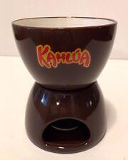 "Brown Ceramic 2 Pc ""KAHLUA"" Tealight Warmer Fondue Melting Pot"