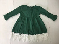 Green Boutique Dress Girls Size Large 4T/5T Long Sleeve Lace Holiday Dressy