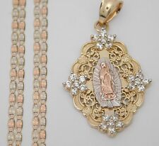 "Mary Cz Pendant 18"" Valentino Chain Religious Real 14k Yellow Tri Gold Virgin"