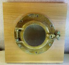 """Vintage Brass Nautical 8"""" Porthole Window Mounted on 11.5"""" Square Wood Slab"""
