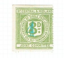Great Central & Midland Jt. Comm. 1920 4 on 3d green Railway Letter stamp mint