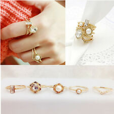 Delicate Chic Lady Women Fashion Jewelry Rhinestone Pearl Ring Set 5pcs