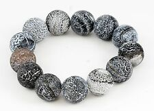 Black White Round Polished Volcano Lava Rock Bead Bracelet 13 Beads Elastic 7""